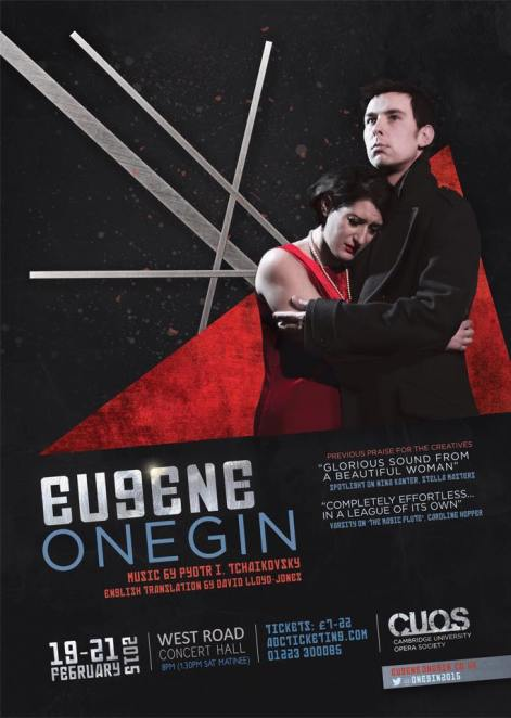 Publicity poster for Eugene Onegin, Cambridge University Opera Society. Photo: Robert Hawkins