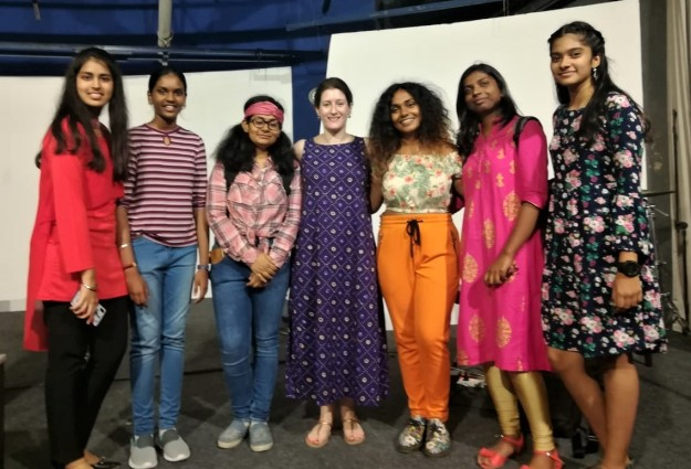 Nina with KMMC Summer School students after their first performance of Western Classical music, Chennai, May 2019